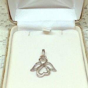 Sterling Silver Diamond Angel Pendant